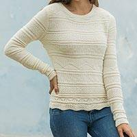 100% alpaca sweater, 'Ivory Snow' - Elegant 100% Alpaca Sweater Patterned in Ivory Color