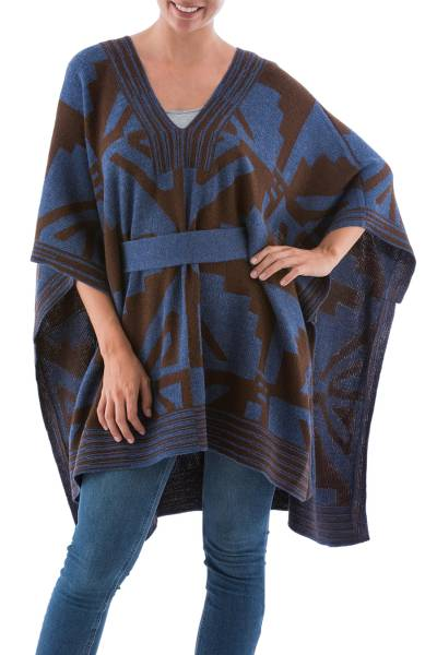 100% alpaca poncho, 'Andean Geometry' - Knitted Alpaca Poncho with Belt in Blue and Brown