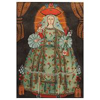 'Our Lady of Mercy' (27 inches) - Original Cuzco Style Catholic Oil Painting (27 Inches)