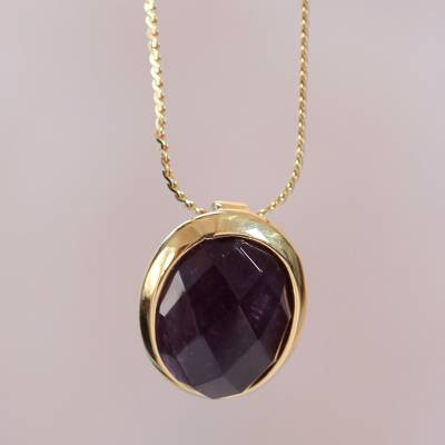 Gold vermeil amethyst pendant necklace, 'Aurora Glow' - Handcrafted Faceted Amethyst and Gold Vermeil Necklace
