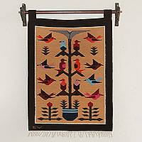 Wool tapestry, 'Brown Birds in Eden' - Andean Wool Tapestry in Browns Handwoven with Birds