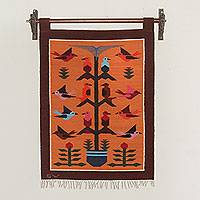 Wool tapestry, 'Sunset Birds in Eden' - Artisan Crafted Andean Wool Tapestry in Orange and Brown