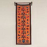 Wool tapestry, 'Swallows at Sunset' - Orange Handwoven Andean Wool Tapestry with Birds