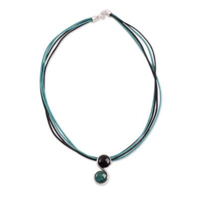 Peru Onyx and Chrysocolla Zodiac Necklace for Capricorn