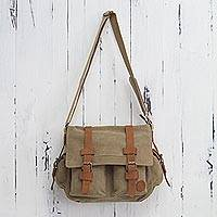 Leather accent cotton messenger bag, 'Journey to Puno'