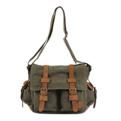 Leather accent cotton messenger bag, 'Journey to Manu' - Leather Accent Roomy Canvas Messenger Bag in Green