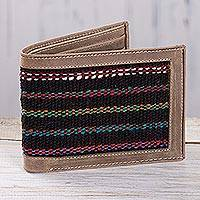 Men s wool accent leather wallet Fiesta Night Peru