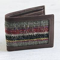 Wool accent leather wallet,