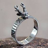Sterling silver cocktail ring, 'Reindeer Paths' - Sterling Silver Ring with Reindeer Crown from Peru