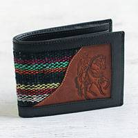 Men's wool accent leather wallet, 'Blue Night Rider' - Men's Black Leather Cowboy Theme Wallet with Wool