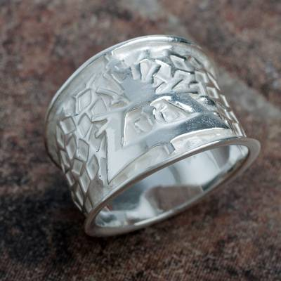Sterling silver band ring, 'Bright Hummingbird' - Nazca Theme Wide Sterling Silver Bird Ring