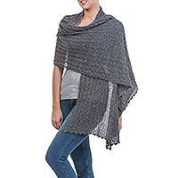 Alpaca blend shawl, 'Muse in Grey' - Charcoal Grey Sheer Knitted Alpaca Blend Shawl