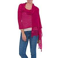 Featured review for Alpaca blend shawl, Gossamer Raspberry Stars