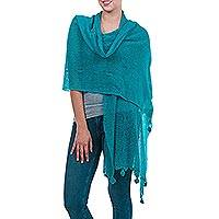 Featured review for Alpaca blend shawl, Gossamer Turquoise Stars
