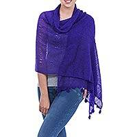 Alpaca blend shawl, 'Gossamer Purple Stars' - Deep Purple Open Knit Andean Alpaca Wool Blend Shawl