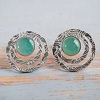 Opal button earrings, 'Green Vibrations' - Handcrafted Sterling Silver and Green Opal Button Earrings