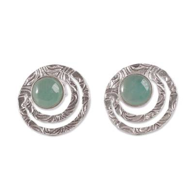 Handcrafted Sterling Silver and Green Opal Button Earrings