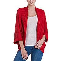 Alpaca blend cardigan, 'Cherry Caress' - Alpaca Blend Ribbed Cherry Red Knit Cardigan from Peru