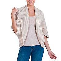 Alpaca blend cardigan, 'Wheat Caress' - Modern Ribbed Cardigan in a Beige Alpaca Wool Blend