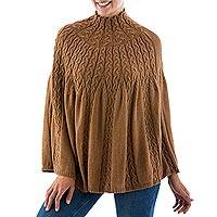 Alpaca blend poncho, 'Graceful Cinnamon' - Peru Cinnamon Brown Alpaca Blend Women's Poncho
