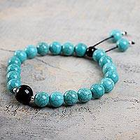 Reconstituted turquoise and agate stretch bracelet, 'Huallanca Sky' - Reconstituted Turquoise Stretch Bracelet with Black Agate