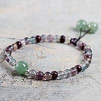 Fluorite and aventurine stretch bracelet, 'Natural Clarity' - Handcrafted Fluorite Beaded Stretch Bracelet with Aventurine