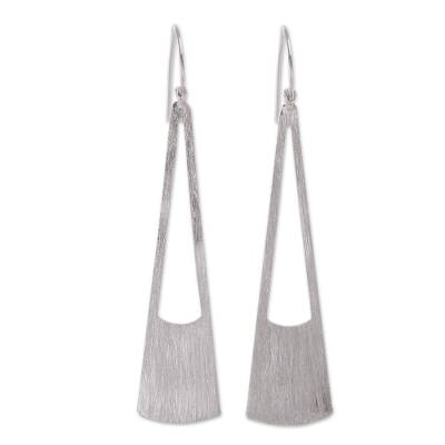 Peru Modern Brushed Sterling Dangle Earrings