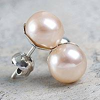 Cultured pearl stud earrings, 'Pink Nascent Flower' - Pink Cultured Pearl Handcrafted Stud Earrings from Peru