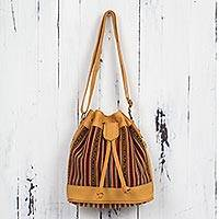 Leather accent wool blend bucket bag, 'Andean Paths' - Leather Trim Handwoven Andean Wool Blend Bucket Bag Purse