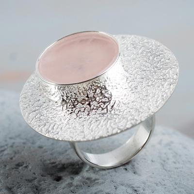 Peruvian Textured Silver and Rose Quartz Statement Ring