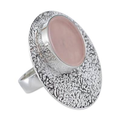 Peruvian Textured Silver and Rose Quartz Statement Ring