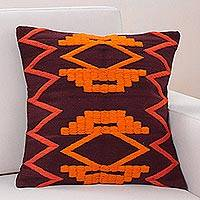 Wool cushion cover, 'Fiery Symmetry' - Handwoven Brown Wool Cushion Covers with Bright Orange