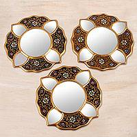 Mirrors, 'Floral Glory' (set of 3) - 3 Petite Andean Floral Reverse Painted Glass Mirrors