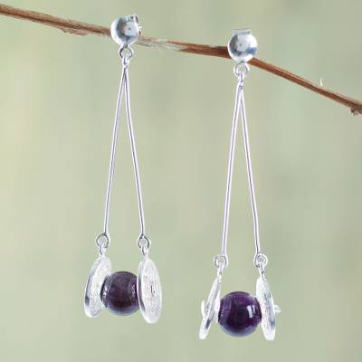 Amethyst filigree earrings, 'Mystic Synergy' - Filigree Sterling Silver Earrings Crafted with Amethyst
