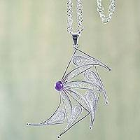 Amethyst filigree necklace, 'Moving' - Filigree Sterling Silver Necklace Crafted with Amethyst