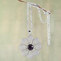 Amethyst filigree necklace,