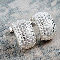 Sterling silver half hoop earrings, 'Silver Brick Road' - Modern Brick Pattern Sterling Silver Earrings from Peru
