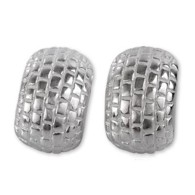 Modern Brick Pattern Sterling Silver Earrings from Peru