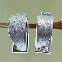 Sterling silver button earrings, 'Graceful Curves' - Handcrafted Modern Textured Sterling Silver Earrings