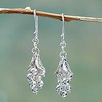 Sterling silver cluster earrings,