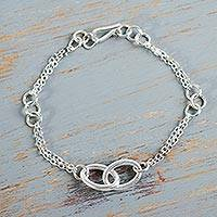 Sterling silver link bracelet, 'Together in Beauty' - Contemporary Peruvian Handcrafted Silver Link Bracelet