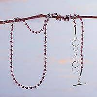 Garnet beaded necklace, 'Pomegranate Seed' - Handcrafted Sterling Silver and Garnet Beaded Necklace