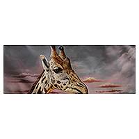 'Giraffe' - Original Signed Realistic Up-Close Painting of a Giraffe