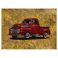 'Red Ford' - Original Classic Red Ford Pickup Truck Painting