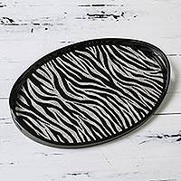 Reverse painted glass tray, 'Zebra Jungle' - Zebra Pattern Handcrafted Reverse Painted Glass Tray