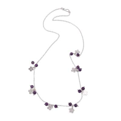 Artisan Crafted Station Necklace with Amethyst and Silver