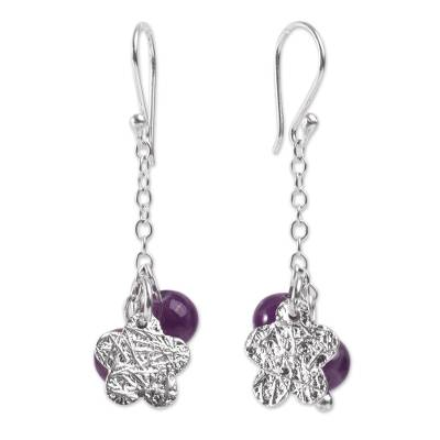 Fair Trade Sterling Silver and Amethyst Cluster Earrings