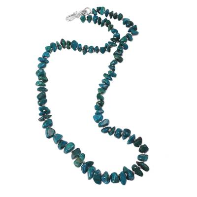 Sterling Silver Accent Handcrafted Chrysocolla Necklace