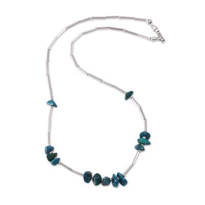 Handcrafted Andean Sterling Silver Chrysocolla Necklace