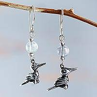 Fluorite dangle earrings, 'Inca Sparrow' - Handcrafted Fluorite Bird Earrings in Sterling Silver